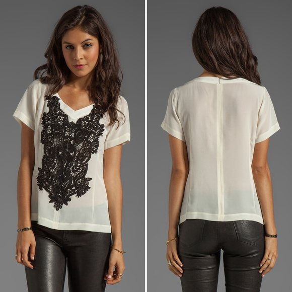 4a68a4ca Anthropologie Tops | Nanette Lepore Kissing Booth Lace Snowcone Top ...